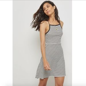 TOPSHOP Contrast Detail Striped Dress